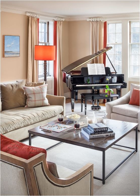 View Contemporary Art Scene Of Living Room With Grand Piano Pictures