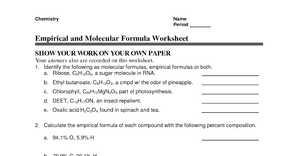 73 CHEMISTRY EMPIRICAL FORMULA PRACTICE ANSWERS, FORMULA ...