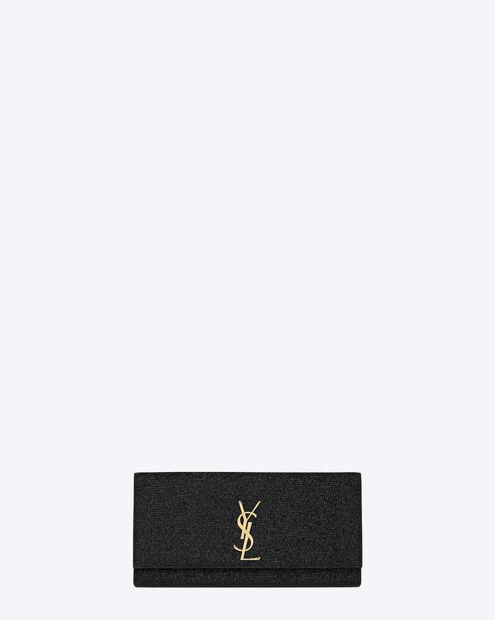 saintlaurent, Pochette Monogramme Saint Laurent en tissu pailleté noir