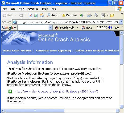 Crash caused by StarForce Copy Protection (Link Fixed)