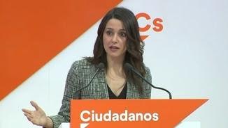 Inés Arrimadas, aquest matí, en una compareixença informativa