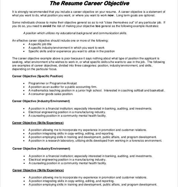 25 Beautiful Good Job Objectives For Resume For Customer