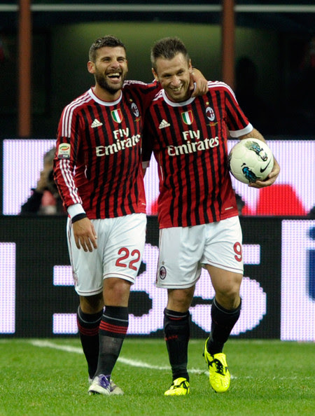 Antonio Cassano Antonio Nocerino and Antonio Cassano of AC Milan celebrate scoring the second goal during the Serie A match between AC Milan and Parma FC at Stadio Giuseppe Meazza on October 26, 2011 in Milan, Italy.