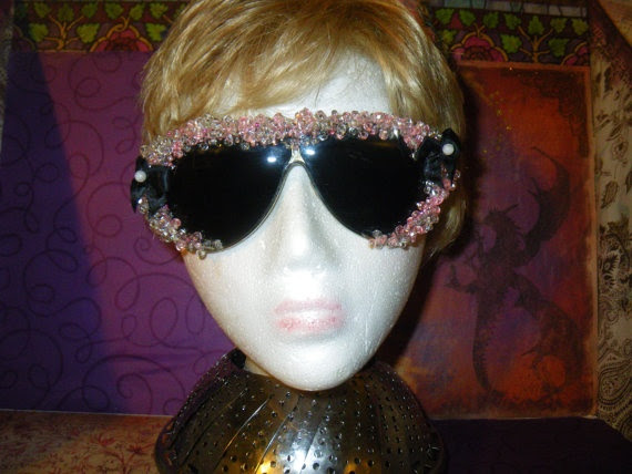 pink and white beaded sun glassed by craftybabydoll on Etsy, $20.00