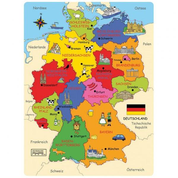 Lernspiel Deutschland-Karte aus Holz mit Bundesländern ...