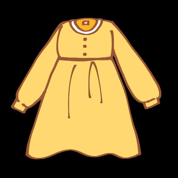 黄色の長袖ワンピースのイラスト かわいいフリー素材が無料のイラスト