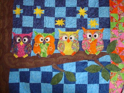 owl quilt WIP quilting sneak peeks