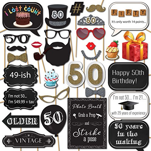 Funnytree 6x6ft Gold 50th Birthday Photography Backdrop Adult Step