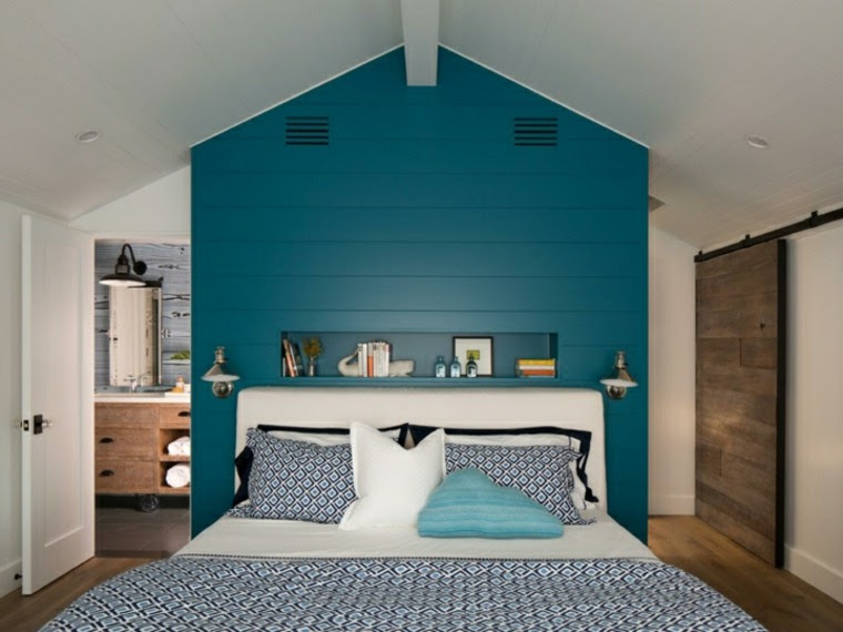 Chambre mur bleu canard et blanc my moments in home - Chambre bleu gris blanc ...