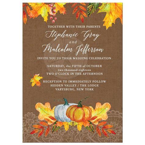 Fall Autumn Watercolor Leaves Wedding Invitations