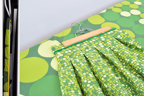 Ikea quilt cover becomes ironing board cover and pleated skirt