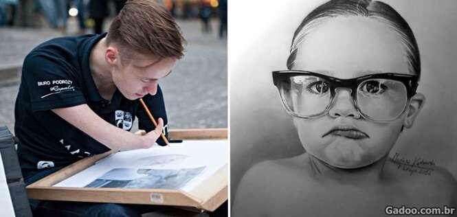 Jovem quase sem braços faz desenhos incrivelmente reais