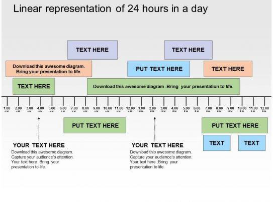 linear_representation_of_24_hours_in_a_day_flat_powerpoint_design_Slide01