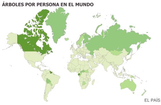 Número de árboles en el mundo