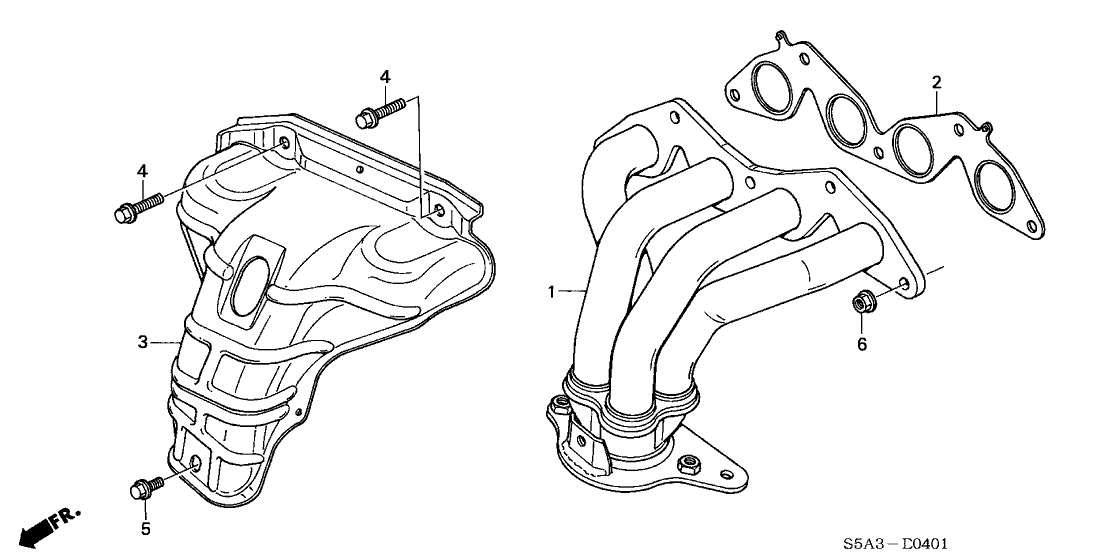 2002 Honda Civic Exhaust System Diagram