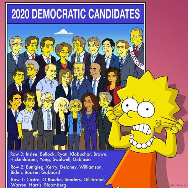 Lisa Simpson is shocked at the number of potential Democratic candidates for the 2020 presidential election...despite the fact that she's not old enough to vote for any of them.