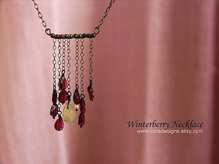 Winterberry Necklace - garnet, rutilated quartz, oxidized sterling silver chains