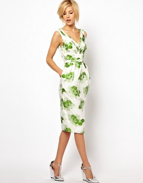 Image 4 of ASOS Pencil Dress in Floral Jacquard