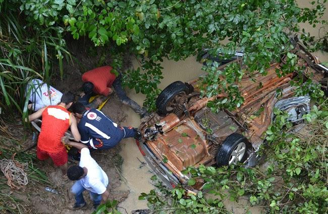 Resultado de imagem para carro cai em rio