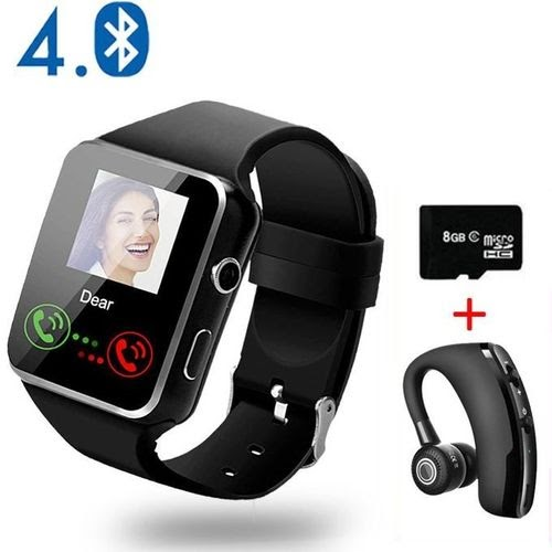 Bluetooth Smart Watches Écran tactile avec téléphone de montre caméra avec carte SIM Slot Watch Téléphone cellulaire -Black +V9 Earphone+8G Carte SD