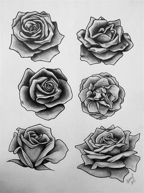 grey black roses tattoos designs