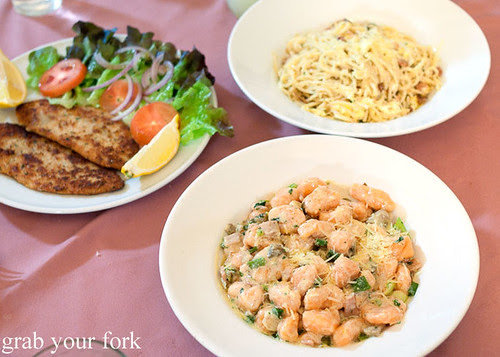 chicken schnitzel, spaghetti carbonara and sweet potato gnocchi at nonna maria's place italian restaurant parramatta sydney