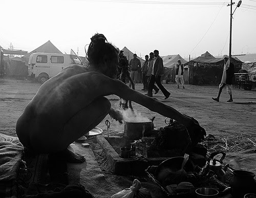 The Naga Hospitality -Making Tea For The Guests Maha Kumbh by firoze shakir photographerno1