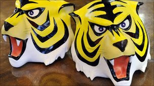 "Rubber masks of cartoon character ""Tiger Mask"""
