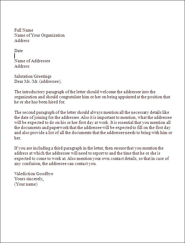 Business Appointment Letter Template Sample Appointment Letter