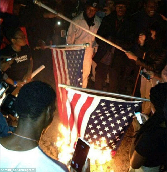 OUTRAGEOUS: Agitators on the streets burned American flags and looted stores after news broke that Wilson would not face criminal charges