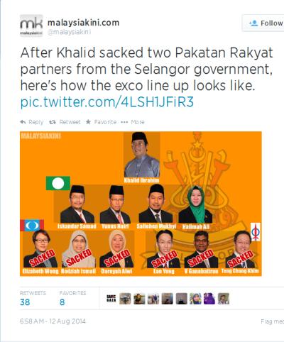 Twitter - malaysiakini- After Khalid sacked