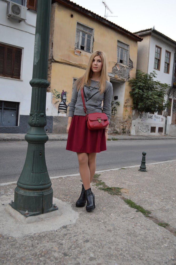 burgundy dress grey sweater