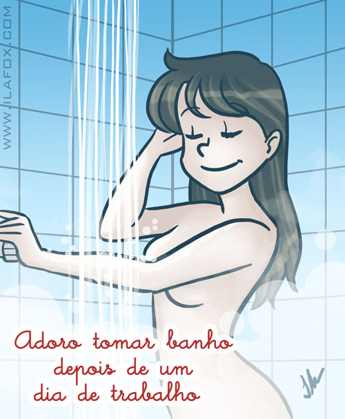 Adoro tomar banho depois de um dia de trabalho, ilustração by ila fox