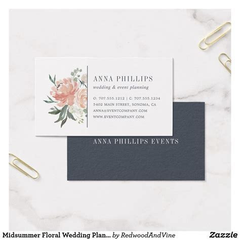 Midsummer Floral Wedding Planner Business Card   Zazzle