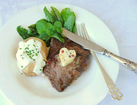 Valentine's Day: Steak with Pink Peppercorn, Rosemary and Lemon Butter
