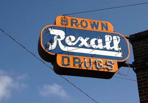 brown drugs rexall neon sign