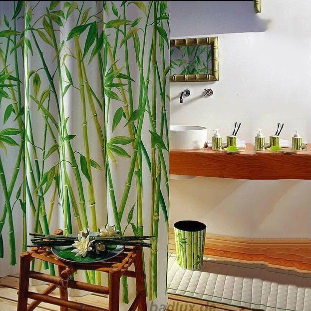 New Arrival Unique Elegant Bamboo Printing Shower Curtain