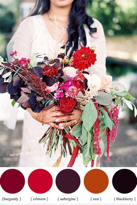 Aubergine, blackberry, burgundy, crimson and rust fall