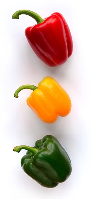 Three bellpeppers (Capsicum annuum) from three...