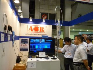 AOR booth, with the Perseus SDR receiver and Studio1 application