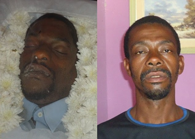 Family and friends of Gilberto Araujo (right) had spent the night grieving beside his open coffin. But the body they were weeping over was that of a workmate (left) who relatives say looked uncannily like 41-year-old Gilberto