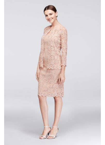 Sequin Lace Shift Dress with Matching Jacket   David's Bridal