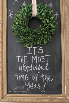 FRENCH COUNTRY COTTAGE: Great idea combining chalk board painted backdrop and wreath.