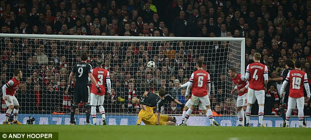 From bad to wurst: Thomas Muller (centre) pounces to prod the German giants two goal to the good