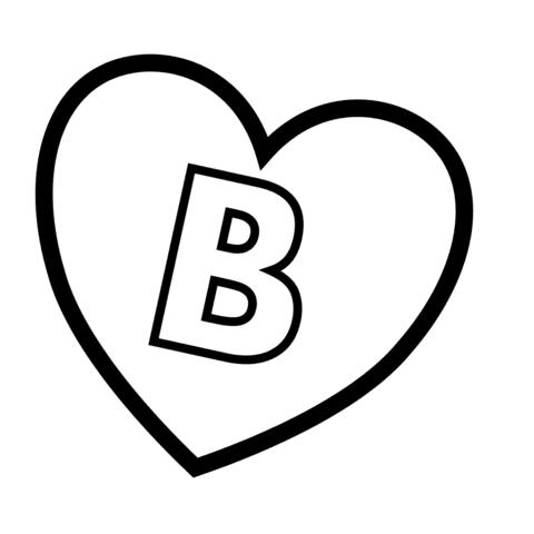 Dibujo De Letra B En Un Corazón Para Colorear Dibujos Para