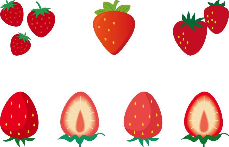 フリーイラスト 7種類のいちごのセットでアハ体験 Gahag