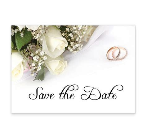 Wedding Bands and Flowers Wedding Save The Date Card