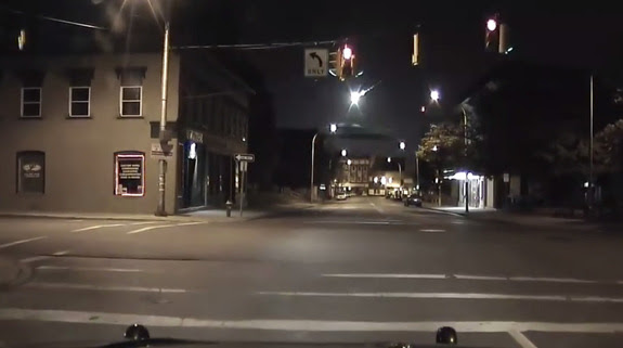 This still image from a Plattsburgh Police Department car dashboard camera video shows the brilliant fireball over Plattsburgh, New York on May 17, 2016. The fireball was visible across the northeastern U.S. and parts of eastern Canada.