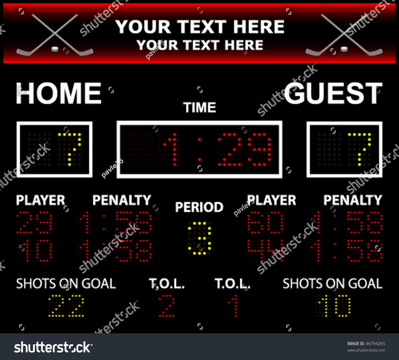 Vector Illustration Led Hockey Scoreboard Fully Stock Vector ...