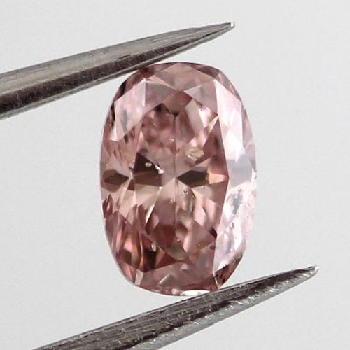 Fancy Orangy Pink Diamond, Oval, 0.24 carat